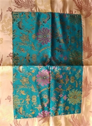 Altar / Puja Table Cover, Turquoise Golden Lotuses and Gold Lotus