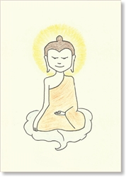 "Buddha Seated on Bodhi Leaf - small size, 3.5 x 5"", Single Greeting Card by Dzogchen Ponlop"