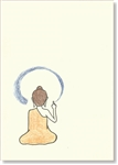 "Buddha Calligraphing ""Shunyata"" - small size, 3.5 x 5"", Single Greeting Card by Dzogchen Ponlop"