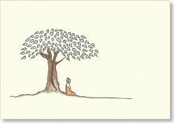 "Buddha Sideview, Under Bodhi Tree - small size, 3.5 x 5"", SOLD OUT / Single Greeting Card by Dzogchen Ponlop"