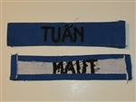 b8456 RVN South Vietnam Navy Name Tape TUAN IR9A
