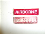 b0664 WW 2 US Army Airborne Tab White on red straight Parachute PIR A8A10