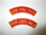 b7478 US Army Vietnam tab Line Hall RVN red yellow IR37B