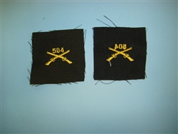 WWII US Army Officers Infantry Crossed Rifles cloth 504th elastique
