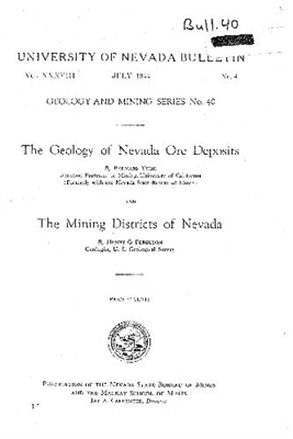 The geology of Nevada ore deposits; and The mining districts of Nevada [TEXT AND COLOR PLATE]
