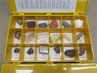Some Nevada rocks and minerals: Box containing 18 specimens of Nevada rocks and minerals