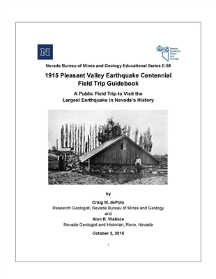 1915 Pleasant Valley earthquake centennial field trip guidebook: A public field trip to visit the largest earthquake in Nevada's history
