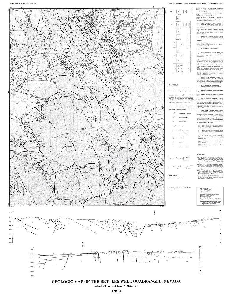 Geologic map of the Bettles Well quadrangle, Nevada [B/W MAP]