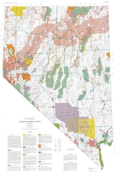 Land Status Map Of Nevada Second Edition SUPERSEDED BY BLM MAPS - Maps of nevada