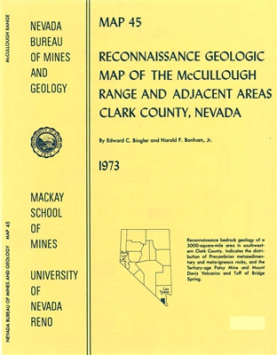 Reconnaissance geologic map of the McCullough Range and adjacent areas, Clark County, Nevada