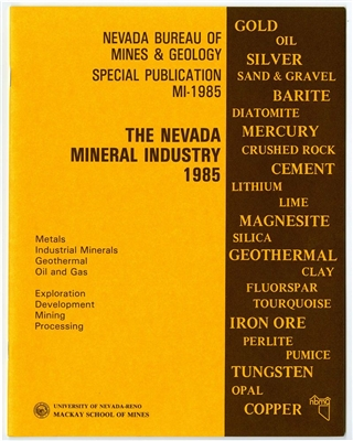 The Nevada mineral industry 1985 [TAPE-BOUND BOOKLET]
