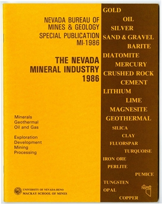 The Nevada mineral industry 1986 [TAPE-BOUND BOOKLET]