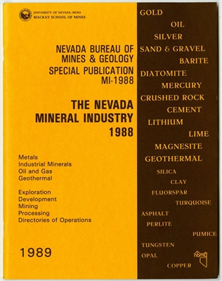 The Nevada mineral industry 1988 [TAPE-BOUND BOOKLET]