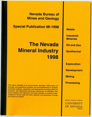 The Nevada mineral industry 1998 [TAPE-BOUND BOOKLET]