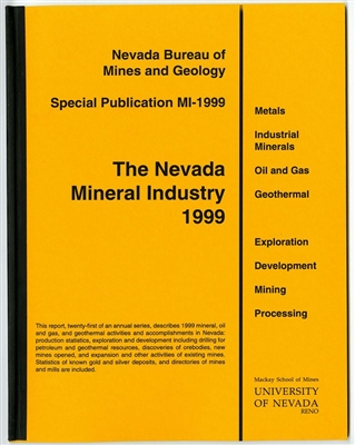 The Nevada mineral industry 1999 [TAPE-BOUND BOOKLET]