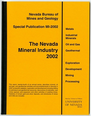 The Nevada mineral industry 2002 [TAPE-BOUND BOOKLET]