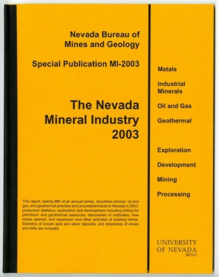 The Nevada mineral industry 2003 [TAPE-BOUND BOOKLET]