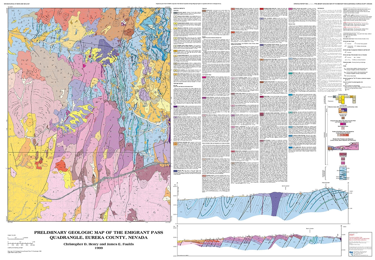 preliminary geologic map of the emigrant pass quadrangle eureka county nevada. Black Bedroom Furniture Sets. Home Design Ideas