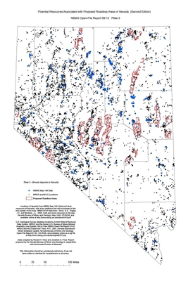 Mineral deposits in Nevada (Plate 3 from Open-File Report 06-12: Potential resources associated with proposed roadless areas in Nevada, second edition) PLATE 3 AND TEXT