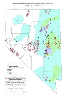 Nevada oil and gas potential (Plate 9 from Open-File Report 06-12: Potential resources associated with proposed roadless areas in Nevada, second edition) PLATE 9 AND TEXT