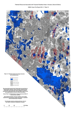 Potential mineral and energy resources and restricted lands (Plate 16 from Open-File Report 06-12: Potential resources associated with proposed roadless areas in Nevada, second edition) PLATE 16 AND TEXT
