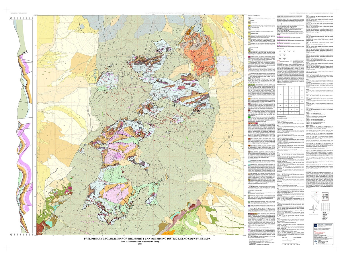 preliminary geologic map of the jerritt canyon mining district elko county nevada. Black Bedroom Furniture Sets. Home Design Ideas