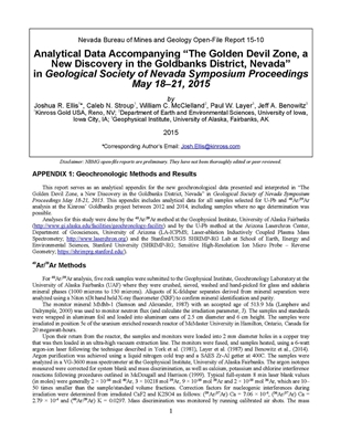 "Analytical data accompanying ""The Golden Devil Zone, a New Discovery in the Goldbanks District, Nevada"" in Geological Society of Nevada Symposium Proceedings May 18–21, 2015 [CD-ROM]"