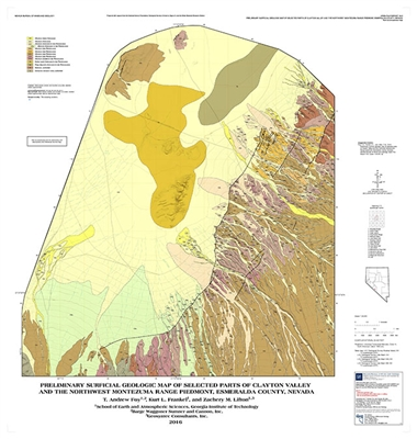 Preliminary surficial geologic map of selected parts of Clayton Valley and the northwest Montezuma Range piedmont, Esmeralda County, Nevada [MAP AND TEXT]