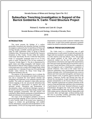 Subsurface trenching investigation in support of the Barrick Goldstrike N. Carlin Trend Structure Project [TEXT AND 12 PLATES]