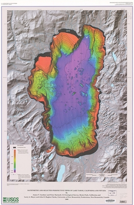 Bathymetry and selected perspective views of Lake Tahoe, California and Nevada