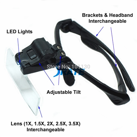 Hands Free Magnification Glasses with LED light