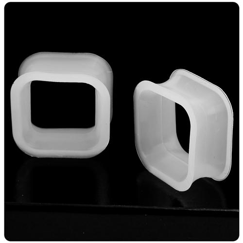 Black double flare flexible silicone square flesh tunnel