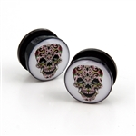 Acrylic screw-on ear plugs with day of the dead sugar skull design