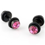 fake anodized black steel pink gem 16g 4g look cheater ear plug Body Jewelry