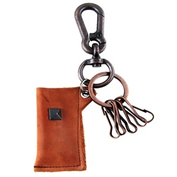 Genuine Leather  Pouch Key Chain - Metal Stud Accent  - Dark Brown