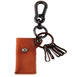 Genuine Leather  Pouch Key Chain - Hexagonal Metal Accent - Dark Brown