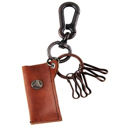 Genuine Leather  Pouch Key Chain  - Fleur de lis Metal Design - Brown