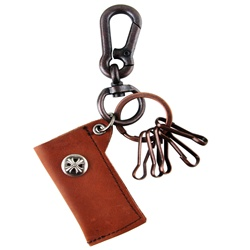 Genuine Leather  Pouch Key Chain - Skull Metal Design - Dark Brown