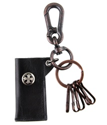 Genuine Leather  Pouch Key Chain - Skull Metal Design - Black