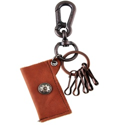 Genuine Leather  Pouch Key Chain - Star Stud - Dark Brown