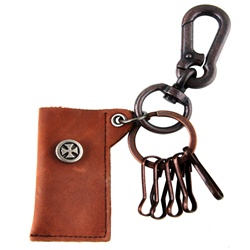 Genuine Leather  Pouch Key Chain- Gladiator Cross - Black