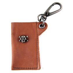 Genuine Leather Key Chain - Skull & Cross Bone - Dark Brown