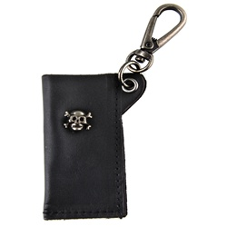 Genuine Leather Key Chain - Skull & Cross Metal Design - Black