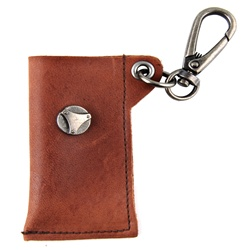 Genuine Leather Key Chain - Metal Stud Accent - Dark Brown