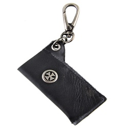 Genuine Leather Key Chain - Gladiator Cross - Black