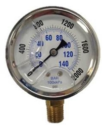 8.710-280.0 Stainless Steel Bottom Mount Pressure Gauge 2000 PSI