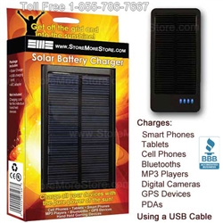 "Universal USB Solar Battery Charger, 4 1/2"" x 2 1/4"" x 1/2"", #SMS-02-Solar"