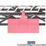 shelf label holder, label holders for wire shelving, clear clip on label holders, wire shelving label clips