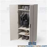 Quartermaster Shelving Doors Storing Tactical Gear, Gear, Police, Bulletproof Vests, S.W.A.T., Special Operations, Special Forces, Bulletproof Shields, Tactical, Vests, Body Armor, Protective Vests, Helmets, Uniforms, Boots, Gas Mask
