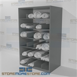 Steel shelving designed for rolled posters and rolled Blueprint storage